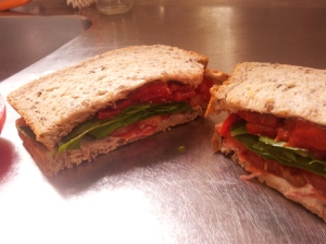 Roast capsicum and olive tapenade sarnie